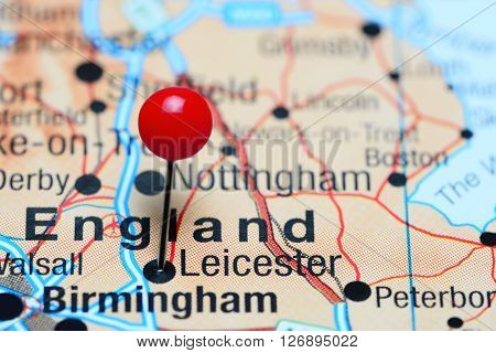 Leicester pinned on a map of UK