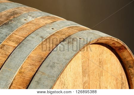 Close view of an oak barrel staves and rings