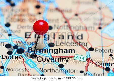 Coventry pinned on a map of UK