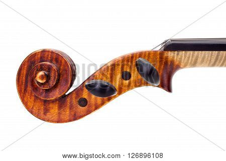 Side View Of Violin Pegs And Scroll. Isolated On White