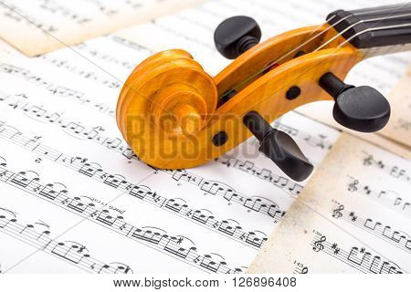 Close View Of A Violin Scroll On Score