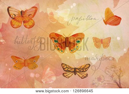 A vintage style collage with watercolor drawings of golden colored butterflies handwritten word 'butterfly' in English French and Spanish and plant silhouettes on abstract brown old paper texture