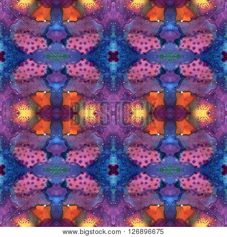 Seamless pattern with watercolor abstract bright dye in Shibori technique. Universe Galaxy night sky with stars background. Indigo pink purple violet yellow blue raster illustration.