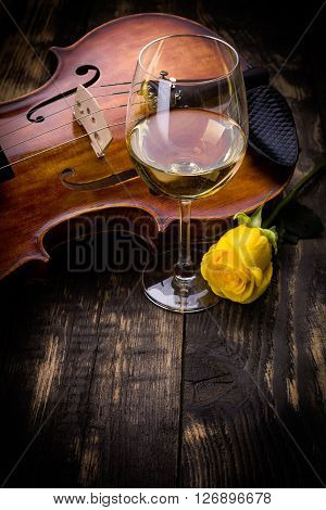Violin, Wine And Yellow Rose