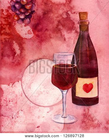 A collage with watercolor drawings of a bottle and a glass of red wine and a bunch of grapes on an abstract burgundy colored texture with a ring from a wine glass with a place for logo or text