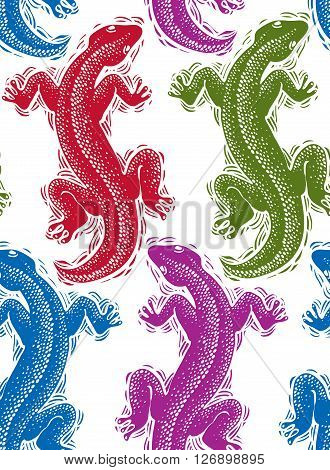 Vector lizards wrapping paper colorful seamless pattern with reptiles art zoology backdrop. Stylized lizards top view.