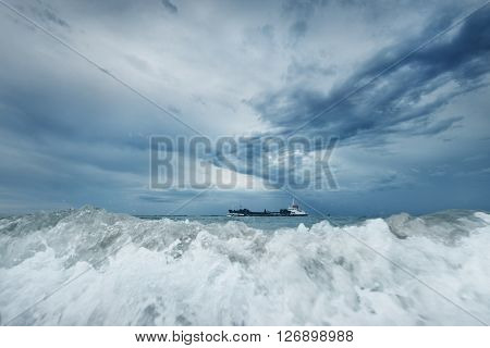 View Of A Sea And Cargo Ships In Vlissingen, Netherlands