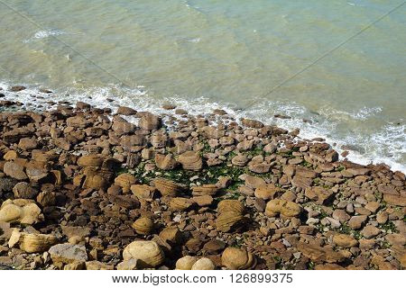Aerial View Of Sea Coast At Cap Gris Nez With Round Stone Formations