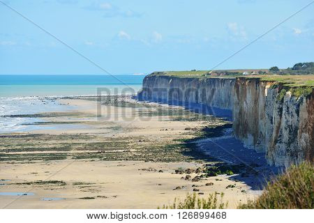 White Cliffs And A Beach During Low Tide In Veules Les Roses, France