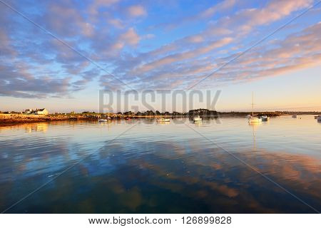 Sunset Sea View Of Yachts And Boats In Lilia Bay In Brittany, France