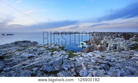 View Of An Ocean Coastline During Sunset At Pointe De Pen-hir In Brittany, France