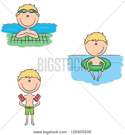 Cute vector swimmer boys in different situations: swimming in the pool with rubber ring wearing inflatable armbands resting near the pool edge