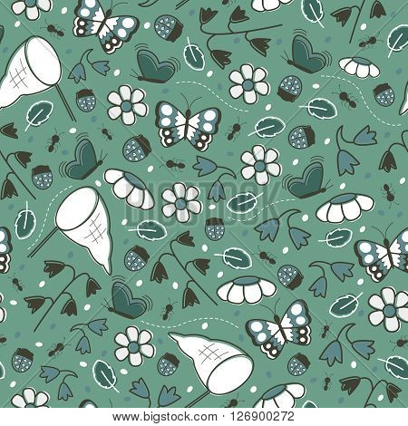 Floral vector seamless pattern with flowers and insects on green background