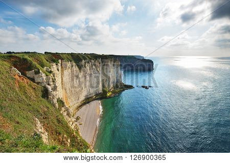 View Of Etretat White Cliffs In Normandy, France