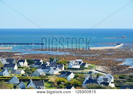 Aerial View Of Cottages And Ocean Coast In Brittany, France