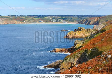 Ocean Coastline With Rocks At Pointe Du Raz In Brittany, France;