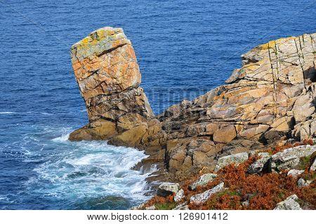 Ocean Coastline With Rocks At Pointe Du Raz In Brittany, France