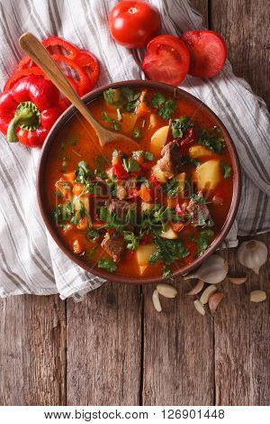 Tasty Hungarian Goulash Soup Bograch And Ingredients. Vertical Top View