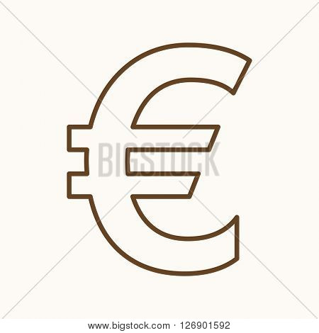 Money icon, vector web sign in thin lines. Euro icon flat. Design banking icon, vector pictogram.