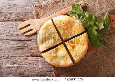 Freshly Baked Greek Pie With Spinach Horizontal Top View