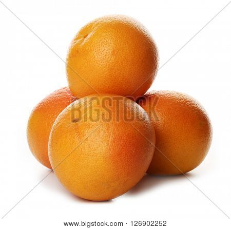 Pile of grapefruits isolated on white background