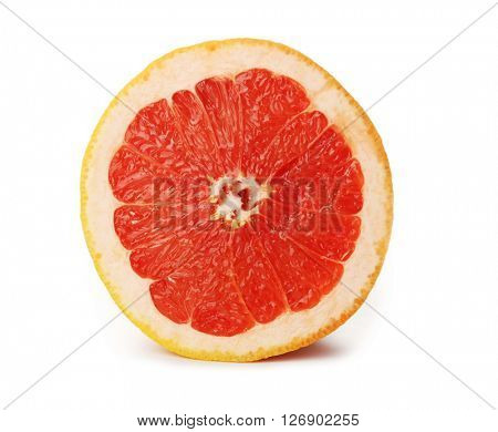 Juicy sliced grapefruit isolated on white background