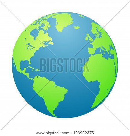 World globe. Planet Earth in a white background. Vector illustration