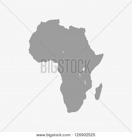 Map of Africa continent in gray on a white background