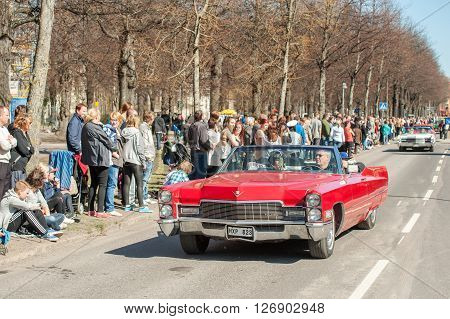 NORRKOPING, SWEDEN - MAY 1: Cadillac 1968 at classic car parade celebrates spring on May 1, 2013 in Norrkoping, Sweden. This parade is an annual tradition in Norrkoping on May Day.