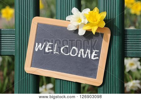 Welcome Sign Garden Flowers Flower Spring With Board