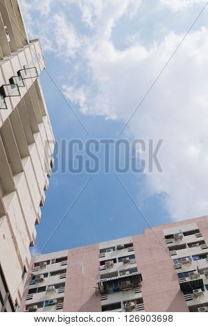 Building with blue sky and white cloud ** Note: Soft Focus at 100%, best at smaller sizes