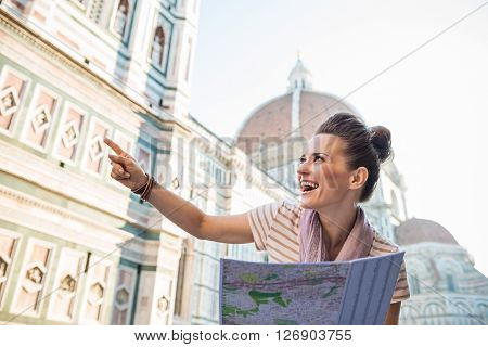 Happy Woman Tourist With Map Pointing On Something, Florence