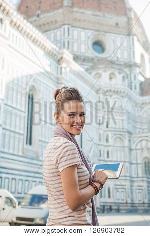 Happy Woman Tourist With Tablet Pc Having Walking Tour, Florence