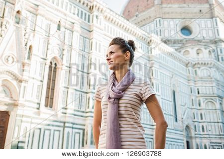 Young Woman Tourist Standing Near Duomo In Florence, Italy