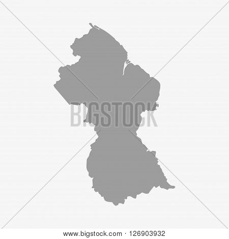 Map of Guyana in gray on a white background
