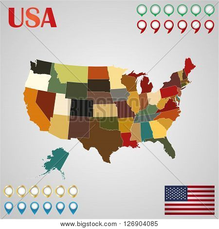 United States map with separated states flag and geo