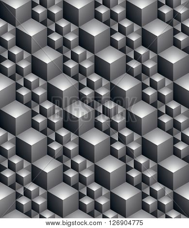 Black and white abstract textured geometric seamless pattern. Vector contrast textile backdrop with three-dimensional cubes and squares.