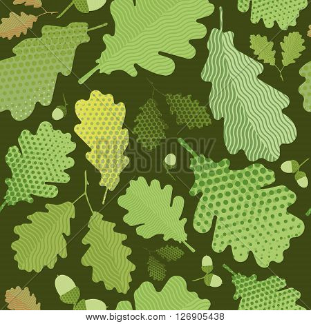 Seamless green foliage without gradient for printing