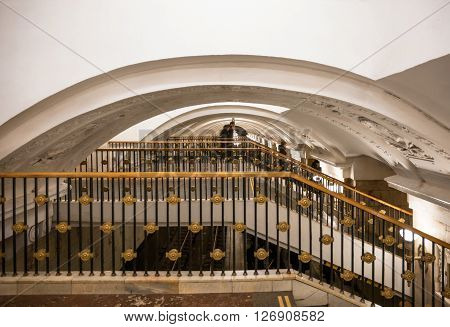 MOSCOW - MARCH 3: Closeup of fancy handrailing in the Oktyabrskaya subway station on March 3 2016 in Moscow. The station is named after the Taganka Square which is a major junction of the Sadovoye Koltso.