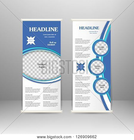 Roll up banner stand design. For advertisement poster brochure presentation business template. Vector illustration