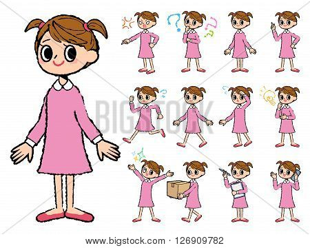 Set of various poses of pink clothing girl in hand painted