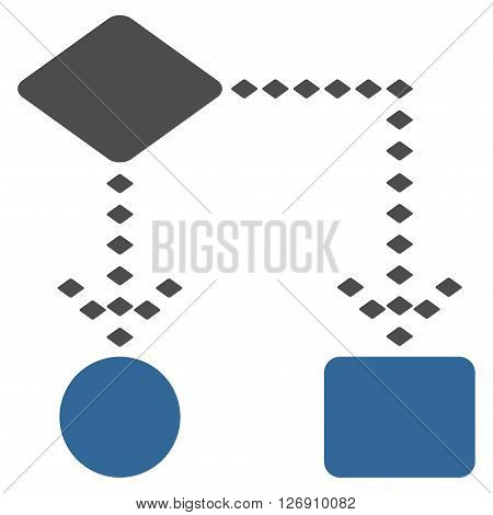 Algorithm Scheme vector toolbar icon. Style is bicolor flat icon symbol, cobalt and gray colors, white background, rhombus dots.