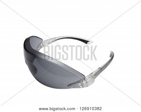 Fashionable dark toned protective glasses isolated in white background.