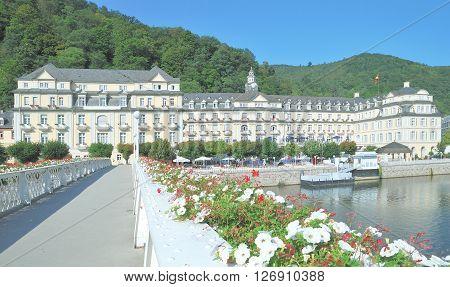Promenade of Bad Ems at River Lahn in Rhineland-Palatinate,Germany