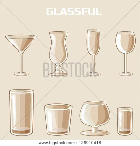 shaped wineglass game element vector. Set of food and drink