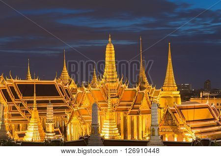 Thailand Grand Palace at twilight, the most traveler visited in Bangkok