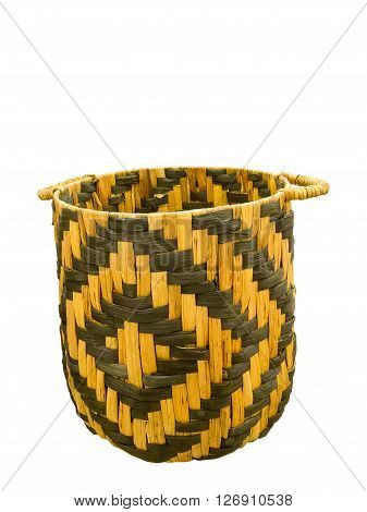 Empty wicker big basket isolated on white background