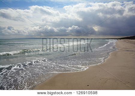 Beach of Juliusruh on Ruegen Island at Baltic Sea,Mecklenburg western Pomerania,Germany