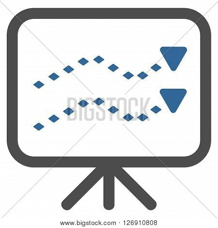 Dotted Trends Board vector toolbar icon. Style is bicolor flat icon symbol, cobalt and gray colors, white background, rhombus dots.