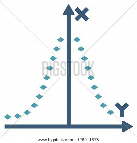 Dotted Gauss Plot vector toolbar icon. Style is bicolor flat icon symbol, cyan and blue colors, white background, rhombus dots.